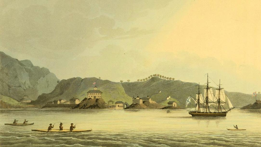 The Russian sloop of war Neva visits Kodiak, Alaska in 1805_Fotor